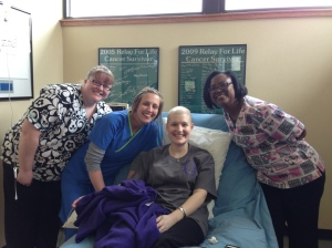 These are three of the awesome nurses who give chemo at Genesis.  I love them all!