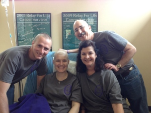 Last day of Chemo!  Ben, mom, and Stu deserve a round of applause and lots of hugs!!!  I couldn't have done it without my inner circle of hope.